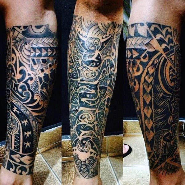 Maori Tribe Tattoo On Mans Lower Leg Half Sleeve