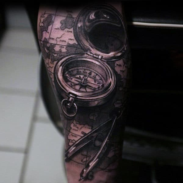 Map And Compass Detailed Guys Forearm Sleeve Tattoos