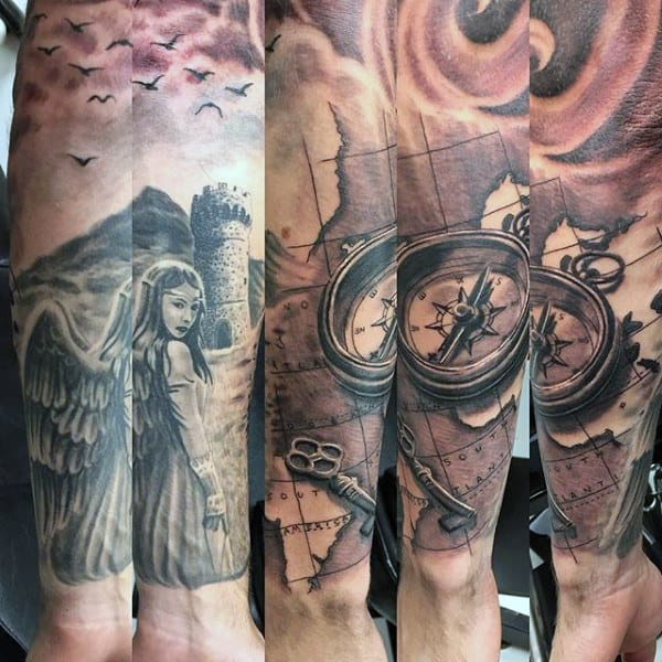 Map And Compass Key Tattoo For Guys On Forearm