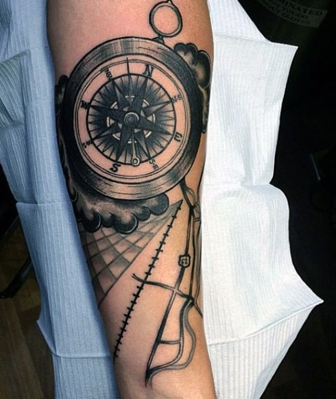 Map Compass Tattoo For Men