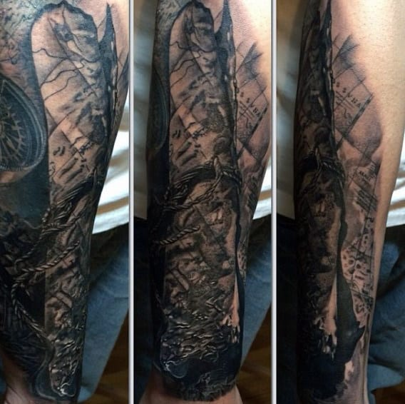 Map Tattoo Sleeve For Men