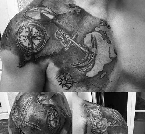 Map With Anchor And Compass Mens Unique Shoulder And Chest Tattoo