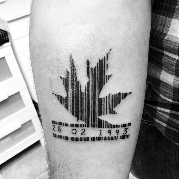 Maple Leaf Barcode Birthday Mens Tattoo On Arm