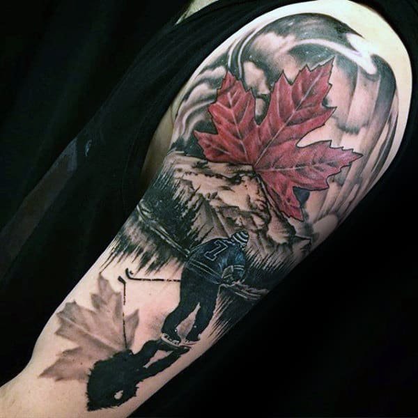 Maple Leaf Mens Hockey Player On Ice Guys Arm Tattoos