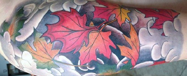 Maple leaf tattoo sleeve
