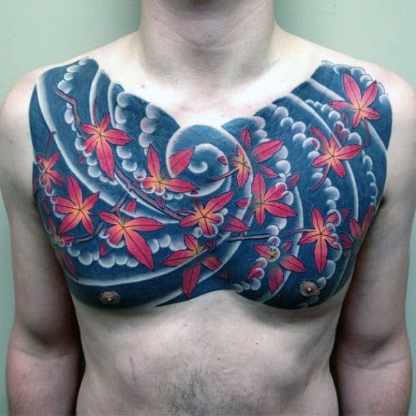 Maple Leaves Blowing In The Wind Japanese Mens Upper Chest Tattoo