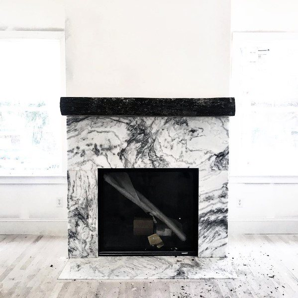 Marble Black And White Exceptional Fireplace Tile Ideas