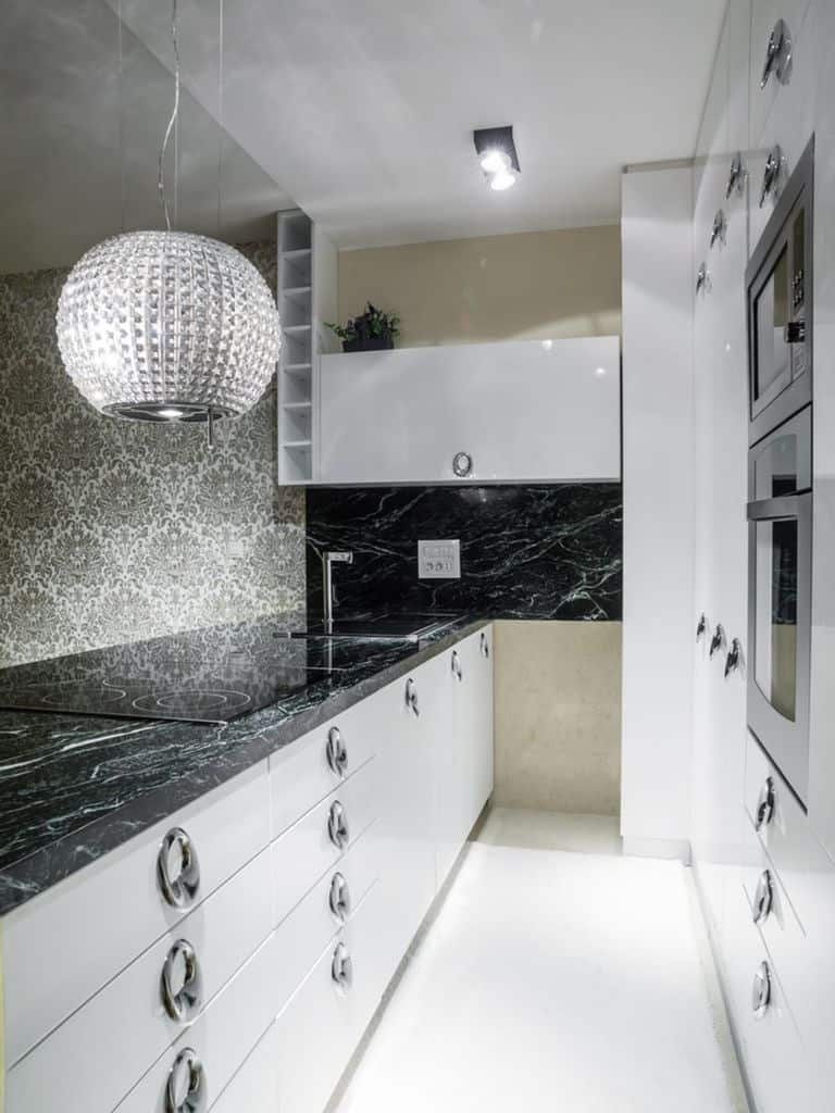 Marble Black And White Kitchen 1