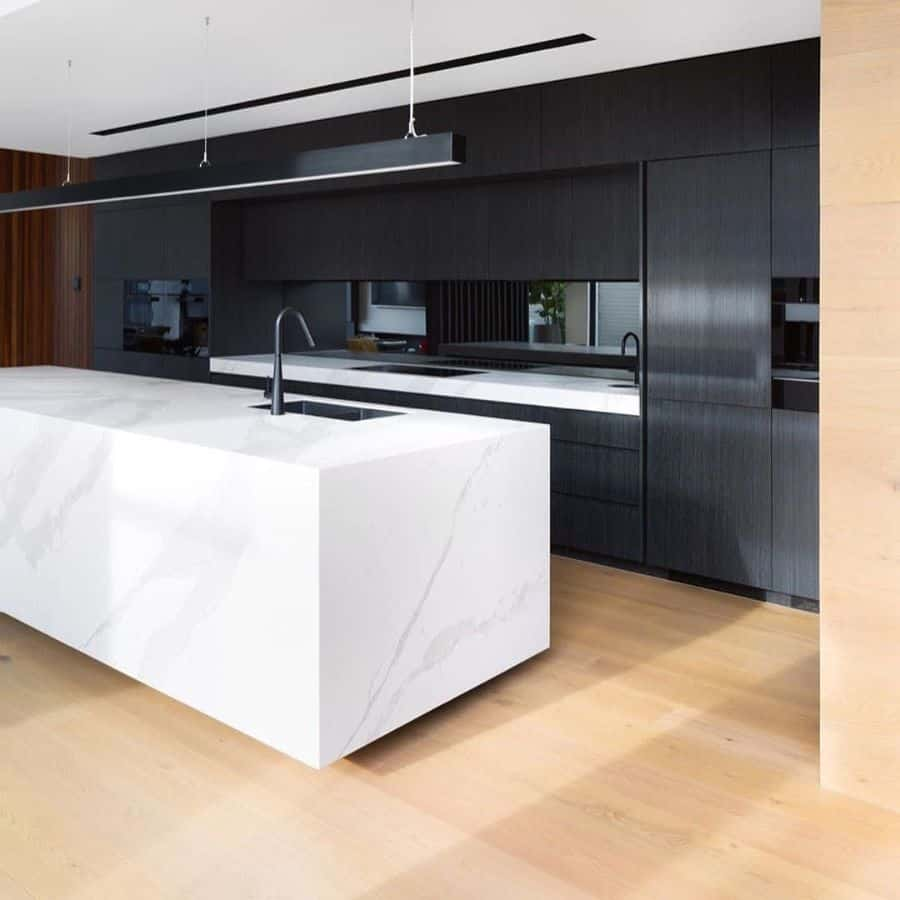 Marble Black And White Kitchen Cosinteriors