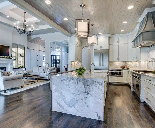 Marble Countertop Island White Kitchen Idea With Hardwood Flooring