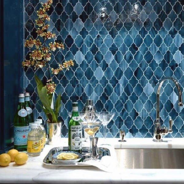 Marble Countertops With Blue Pattern Tile Wet Bar Ideas