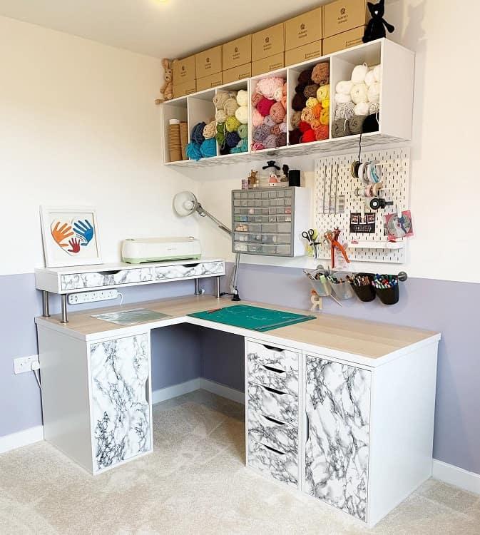 Marble Desk Setup Craft Room