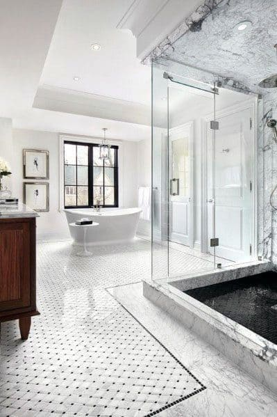 Marble Floor Master Bathroom Interior Design