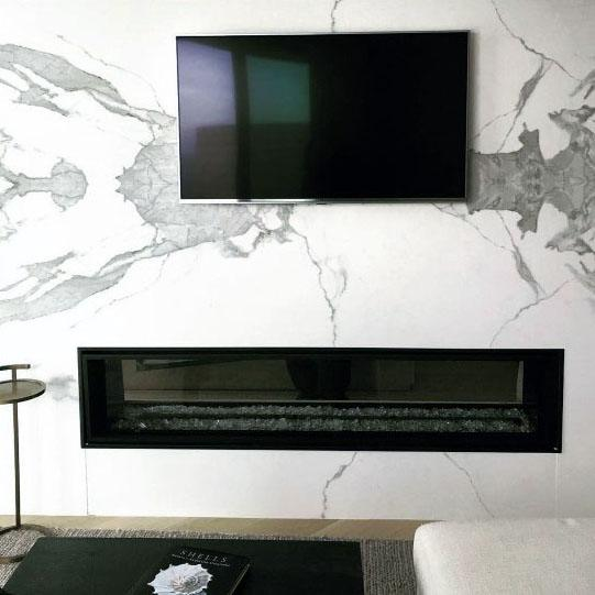Marble Living Room Design Ideas Linear Fireplace