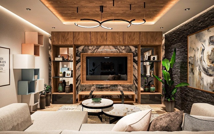 Marble Living Room Entertainment Center