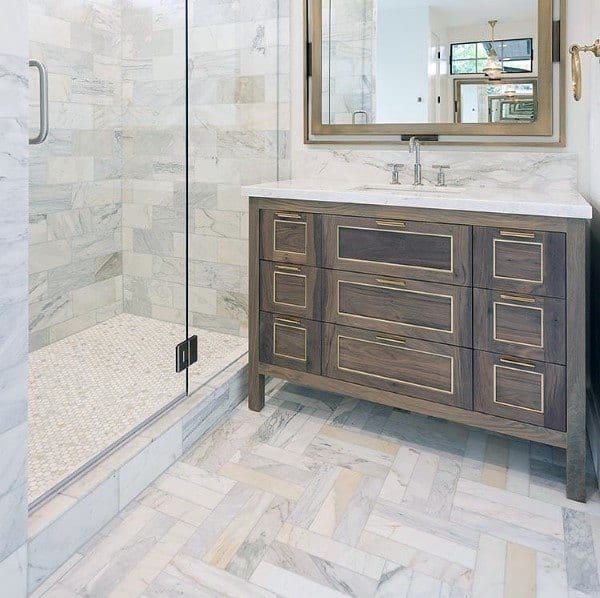 chervron pattern bathroom floor tile ideas
