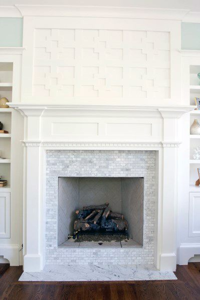 Marble Small Fireplace Tile Ideas