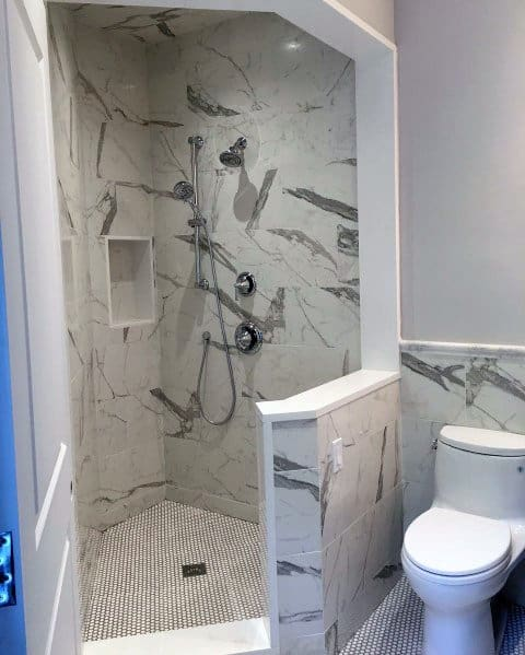 Marble Tile Bathroom Corner Shower Design