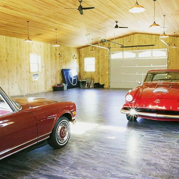 Vintage Garage Ideas: 90 Garage Flooring Ideas For Men