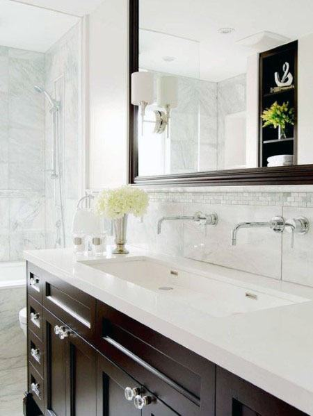 Marble Tiles With Small Mosaic Strip Above Bathroom Backsplash Ideas