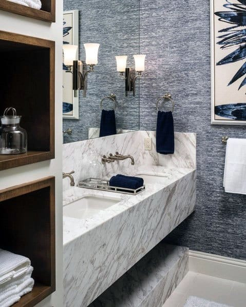 Marble And Shiplap Bathroom