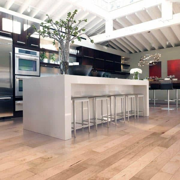 Marble White Countertops Kitchen Island With Wood Floor Design Ideas