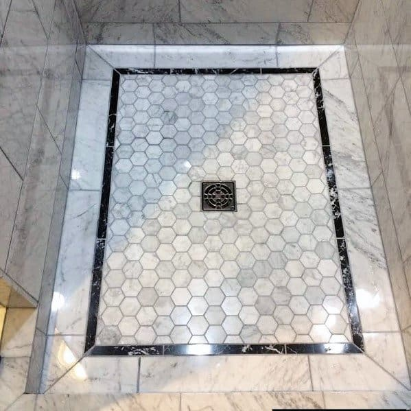 Marble With Black Border Interior Ideas For Shower Floor Tiles