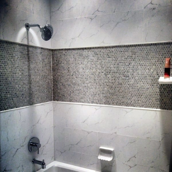 Marble With Tiny Square Tiles Cool Showers Ideas