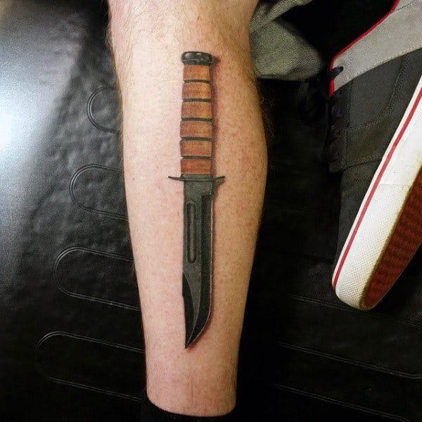 Marine Knife Mens Leg Tattoos