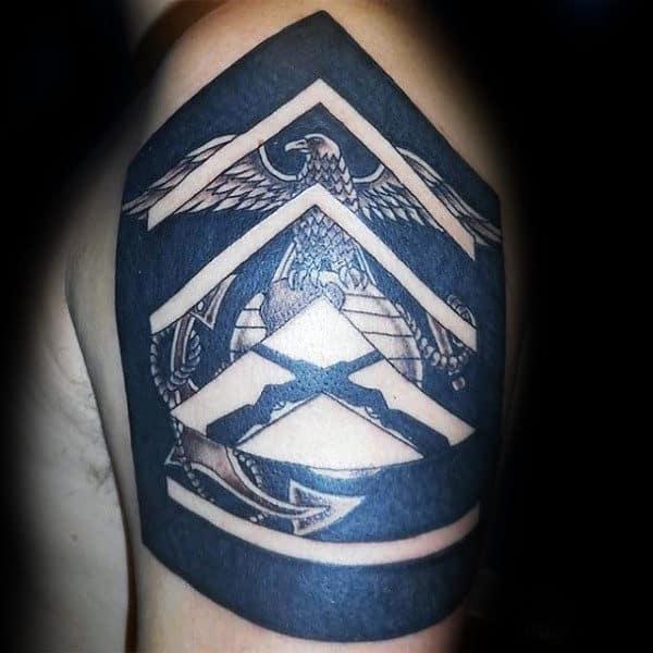Marine Patch Mens Black Ink Upper Arm Tattoo