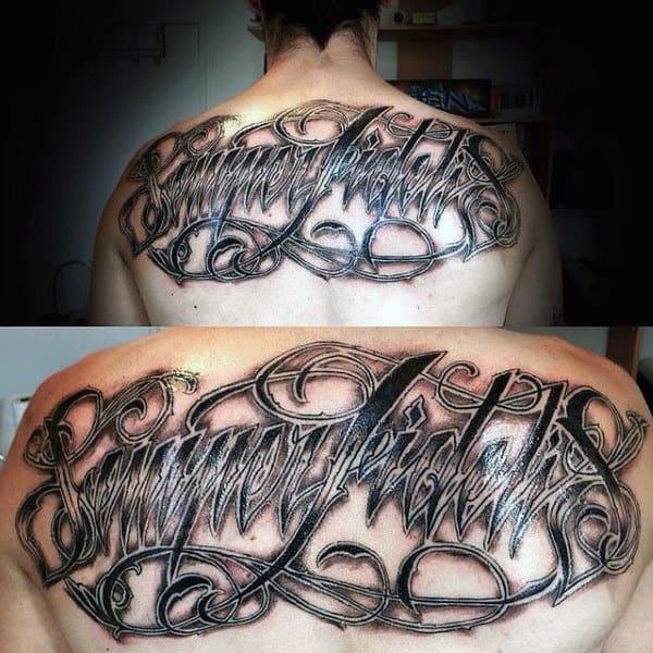 Marine Semper Fidelis Lettering Back Tattoos