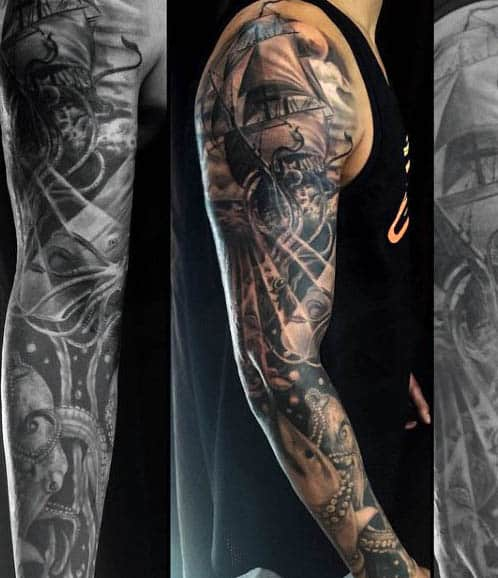 Marine Themed Mens Tattoos With Squid Ship And Shack Full Sleeve Ideas