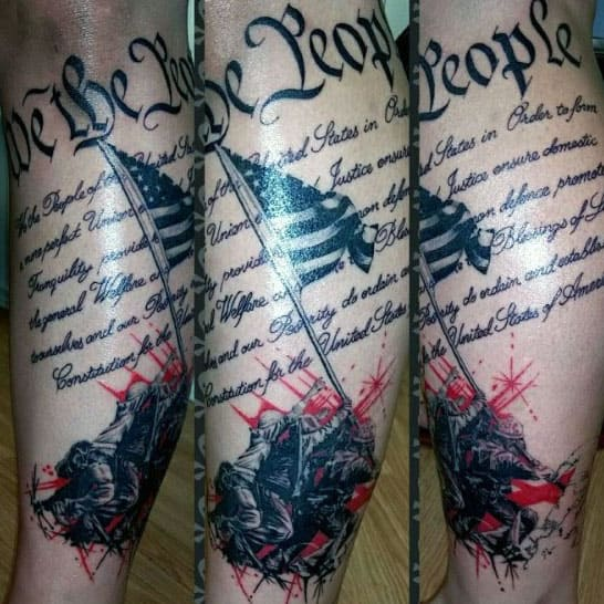 Marines Raising United States Of America Flag We The People Leg Tattoos For Men