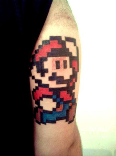 Mario Back Of Arm 8 Bit Tattoos For Guys