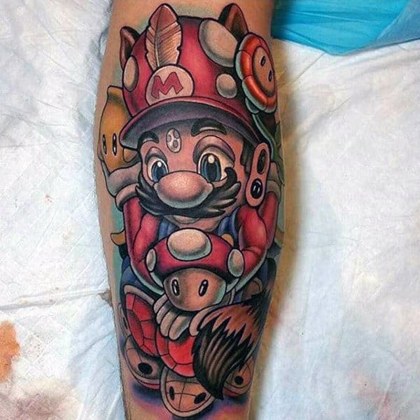 Mario Nintendo Video Game Themed Leg Calf Tattoos For Guys