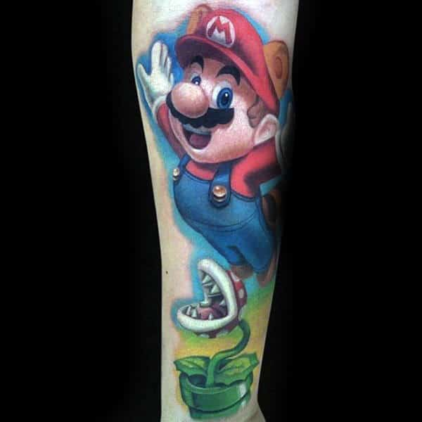 Mario Video Game Guys Tattoos Forearm