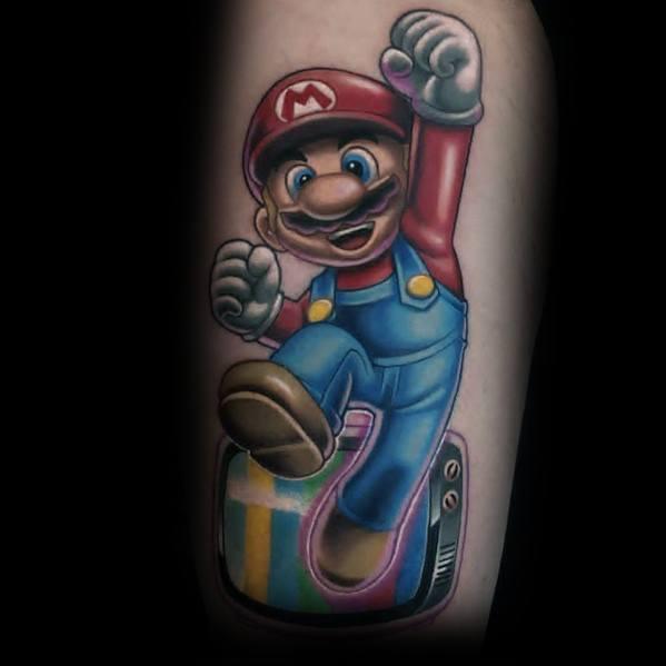 Mario Video Game Tattoo Designs For Men