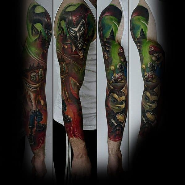 Mario Video Game Tattoo Ideas For Men Full Arm Sleeve