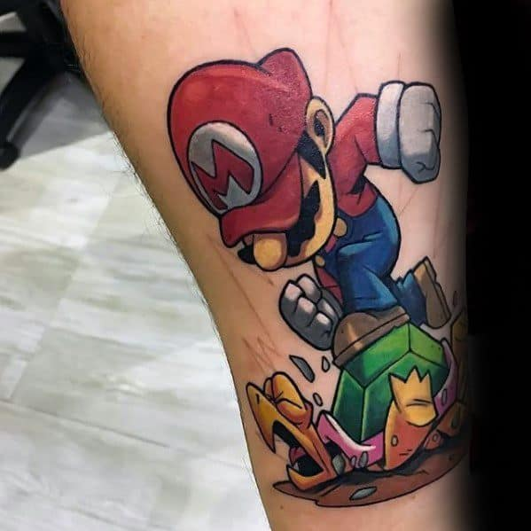 Mario With Turtle Leg Gamer Tattoo Designs For Men