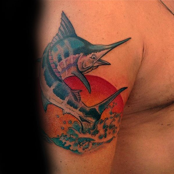 Marlin Fish With Sun And Water Upper Arm Tattoos Men