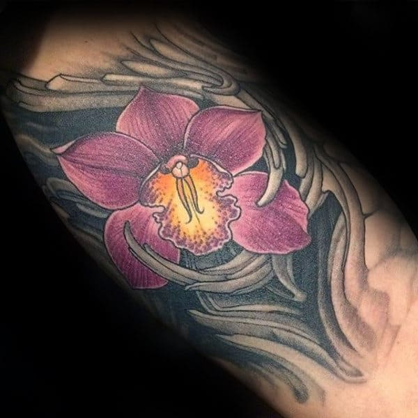 Maroon Orchid Mens Inner Arm Flower Tattoo Designs