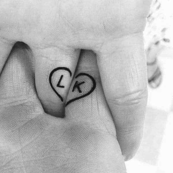 Marriage Tattoos For Couples Heart With Initals Small Design Ideas On Fingers