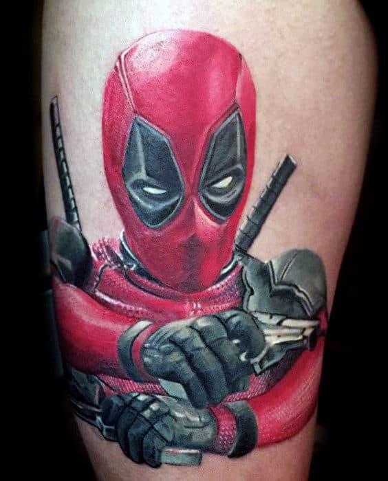Marvel Deadpool Thigh Tattoos For Men