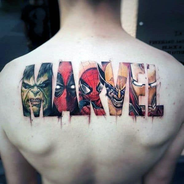 Marvel Logo Awesome Back Tattoo Designs For Guys