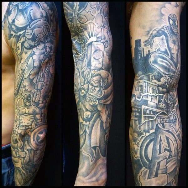 Marvel Themed Mens Captain America Full Sleeve Tattoo Designs