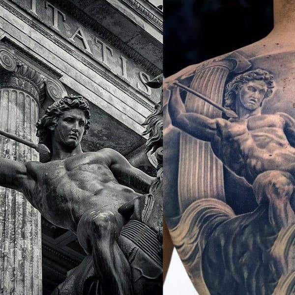 Marvellous Herculean Warrior Tattoo Mens Back