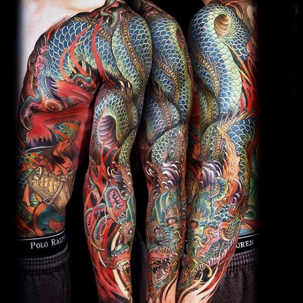 Marvellous Dragon Tattoo Male Full Sleeves