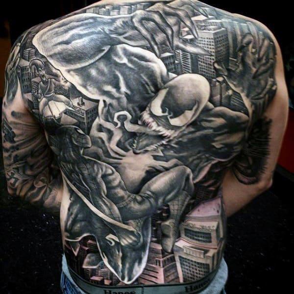 Marvellous Grey Spiderman Tattoo Male Back