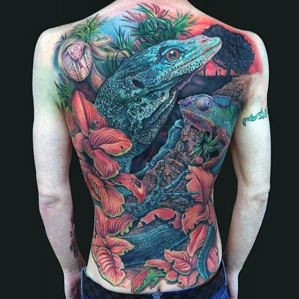 Marvellous Lizard Tattoo On Full Back For Men