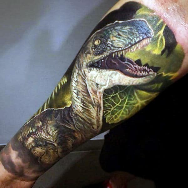 Marvellous Open Mouthed Dinosaur Tattoo Male Forearms